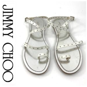 💕SALE💕Jimmy Choo White Silver Studded Sandals